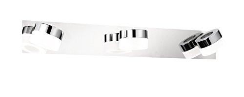 WOFI Wandleuchte Spa-Line, 3-flammig Serie Luce Farbe 3 x LED/3, 6 W, 8 x 11, 5 x 57 cm, 3000 k, 300 lm, Energieeffizenzklasse A+ Badleuchte Schutzart IP23, chrom 4502.03.01.0044