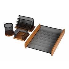 4 Teiliges Schreibtisch-set (MAS 4-Set Organizer-Set für den Schreibtisch, zum Sortieren von Schreibutensilien, 4-teilig, Gitterdesign und Holz, Schwarz beschichtet)