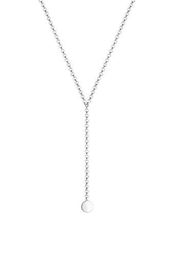 Elli Halskette Choker Y-Kette Plättchen Geo 925 Sterling Silber