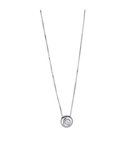 Gioielli di Valenza Collana Punto Luce Grande in Oro Bianco 18k con Diamante