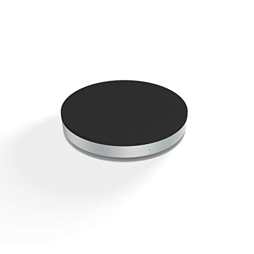 ZENS Qi-zertifiziertes kabelloses Ladegerät Rund 5W Ausgangsleistung Schwarz, USB Kabel inklusive - Funktioniert mit allen Handys mit kabellosem Laden (G3 Dock Wireless Charger Lg)