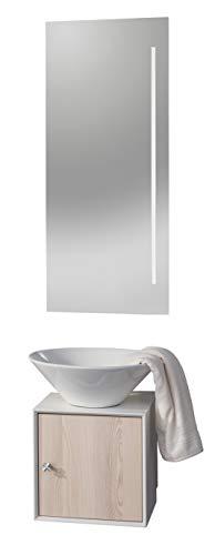 FACKELMANN Gäste WC Set 3-teilig IX! / Waschbecken, Unterschrank und Spiegel/Maße (B x H x T): ca. 42 x 160 x 48 cm/Möbel fürs WC oder Badezimmer/Korpus: Weiß/Front: Braun