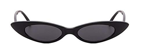 WSKPE Sonnenbrille Cute Sexy Damen Cat Eye Sonnenbrille Kleine Katze Auge Sonnenbrille Uv400 Schwarzen Rahmen Graue Linse