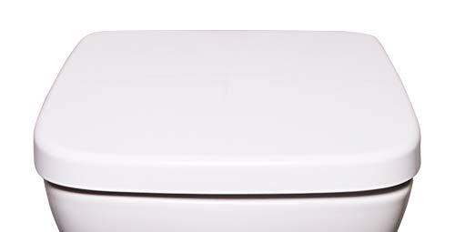 Bullseat 6.1 WC Sitz weiß eckig • passend zu Keramag Renova Nr. 1 Plan • Absenkautomatik/Softclose • abnehmbar • click n\' clean • Toilettendeckel überlappend • Klobrille • hochwertiges Duroplast