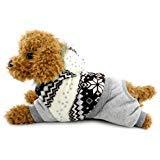 SELMAI Schneeanzug für kleine Hunde und Katzen, mit Kapuze, aus Fleece, warm, für den Winter, für Welpen, Welpen, Schneeflocken, Größe S, wählen Sie eine Größe größer, L, braun