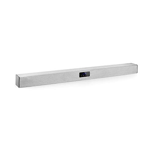 auna Areal Bar 150 Soundbar (4 x 2-Speaker, 2.1 Bluetooth, USB-Port zur Musikwiedergabe/Stromversorgung, microSD-Slot, 2 x AUX, 80 W max Digitalverstärker, Touch, LED, Fernbedienung) Silber - Tv Wireless Bar-lautsprecher Sound