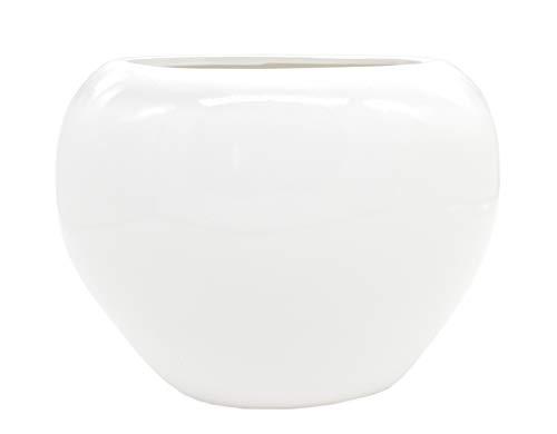 DARO DEKO Design-Vase Hochglanz weiß 21cm x 15cm