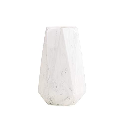 Hetoco 20cm Weiß Marmor Vase Keramik Vasen Blumenvase Deko Dekoration (Marmor Weißer Für Vasen)