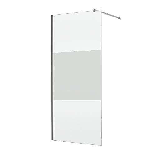 Home Deluxe Duschtrennwand Navaa | Milchglasstreifen | 6mm Glasstärke | Verschiedene Grö