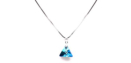 Vsasa's SOBRE Dazzling Elegant Platinum Coated Triangle Shaped PANDENT with Blue SWAROSKI and Silver Chain for Girls Ladies Women