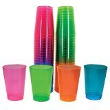 (Half Pint Tumblers Plastic Neon Assorted, Pack of 50)