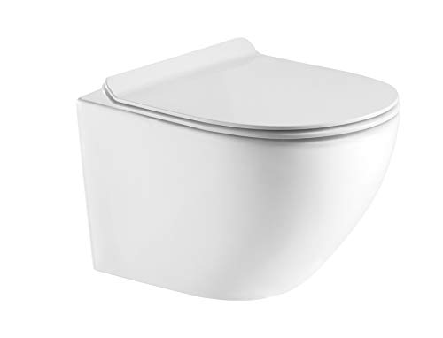 Hänge WC Spülrandlos kurz, Designer Wand Toilette Nano beschichtet mit WC Sitz + Deckel aus Duroplast in Slim und Softclose Absenkautomatik abnehmbar + Beschichtung