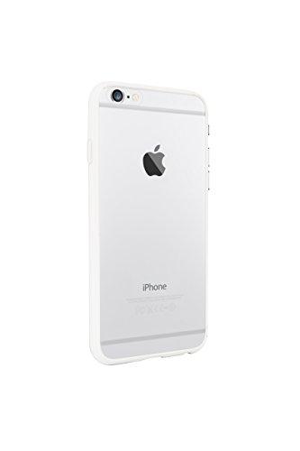 Ozaki OC560BK 0.3 stoßabsorbierender Bumper mit transparenter Rückseite inkl. Displayschutzfolie für Apple iPhone 6 / 6S schwarz weiß/transparent