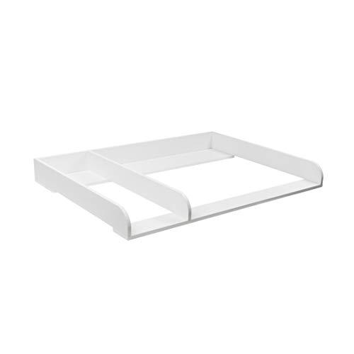 Puckdaddy XXL Wickelaufsatz Kimi - 108x80x10 cm, Wickelauflage aus Holz in Weiß, hochwertiger Wickeltischaufsatz mit Trennfach passend für Kommoden, inkl. Wandbefestigung