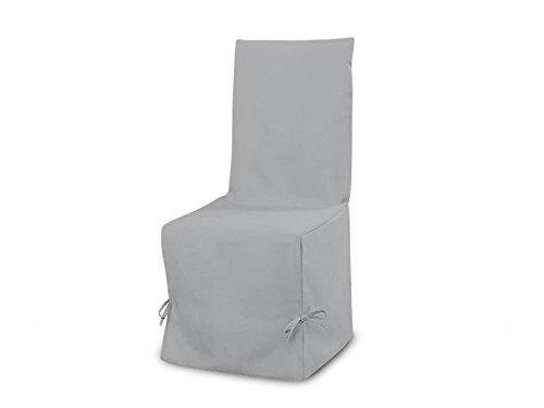 Soleil d'ocre Fodera per sedia in cotone PANAMA grigio chiaro, 50x37x115