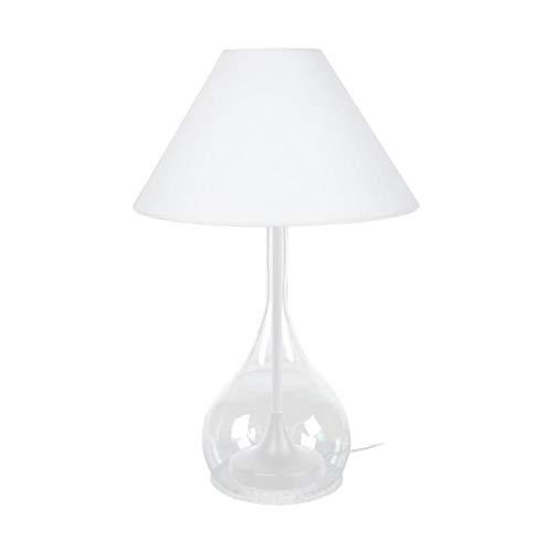 Tosel 63249 Treviso, Pied Acier, extérieur Verre soufflé Transparent, Abat-Jour Coton, E27, 40 W, Blanc, 40 x 70 cm