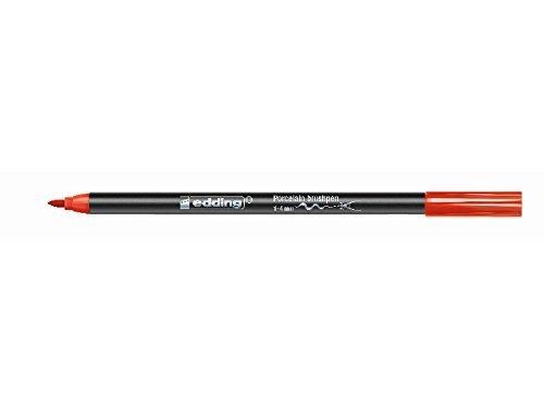 Edding 4200 Porzellan-Pinselstift - rot (002) - 1 - 4 mm, nach dem Einbrennen spülmaschinenfest