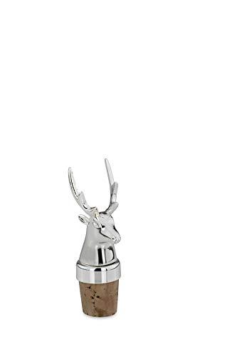 Flaschenkorken Rentier/Hirsch, versilbert, Gesamt-H 8,0cm D 2,5cm, Korken: H 3,0cm, D 2,3cm