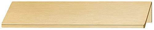 Gedotec Möbelgriff Küche Kantengriff Alu Schubladengriff - KIKO | Aluminium Messing gebürstet | Schrank-Griff Länge 40 mm | Türgriff für rückseitige Verschraubung | 1 Stück - Griffleiste mit Schrauben