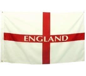 Polyester-Flagge, langlebig, Motiv: England St.-Georgs-Kreuz-Flagge, 60cm x 90cm Fußball-Fahne /Rugby-Fahne, Souvenir / Erinnerungsstück, zwei Messing-Ösen, ideal zum Aufhängen für Innen oder Draußen - (Garten Urlaub-flags Kleinen)