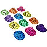 Novelty Place [Estrellas de la Fiesta Sombreros Plásticos de Neón para Fiesta Estampado Animal Color para Niños, Adolescentes y Adultos (Paquete de 12)