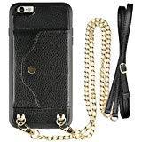 iPhone 6Plus Wallet Fall, lameeku iPhone 6S Plus Hülle mit Kreditkarte Holder Slot Leder Case, Schutzhülle mit Crossbody Kette Gurt und Handschlaufe für Apple iPhone 6Plus/6S Plus 14cm, schwarz