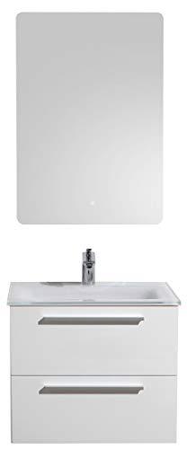 Badmöbel-Set M600 Weiß mit Glaswaschbecken - Spiegel optional, Spiegel:Mit LED-Spiegel 2073, Waschbecken Glasart:Weiß glänzend