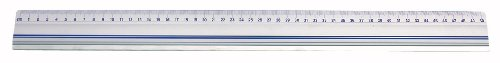 Wedo 525450 Schneidelineal (aus Aluminium, mit Stahlkante und rutschsicherer Gummieinlage, 50 cm)