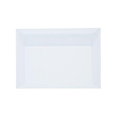 50 Stück, Transparente Briefumschläge, 114 x 162 mm (DIN C6), Haftklebung mit Abziehstreifen, Gerade Klappe, 92 g/qm Offset, Ohne Fenster, Weiß (Transparent-Weiß), B L A N K E® Briefhüllen