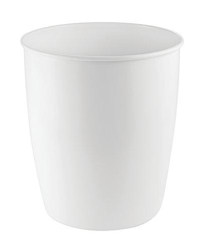 mDesign Contenedor basura - Cubo de basura de acero color blanco - Ideal para la cocina, baño o como papelera oficina