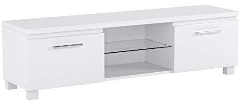 Comfort Home Innovation- Meuble Bas TV LED, Salon-Séjour, Blanc Mate et Blanc Laqué, Dimensions: 150 x 40 x 42 cm de Profondeur.