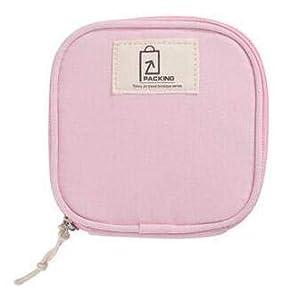 Wolegequ Portable toilet towel bag, tampon bag, aunt towel, large capacity zipper, cosmetics bag