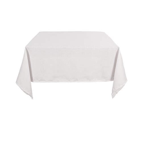 Deconovo Nappe Carree Effet Lin Impermeable pour Table Basse 130x130cm Blanche