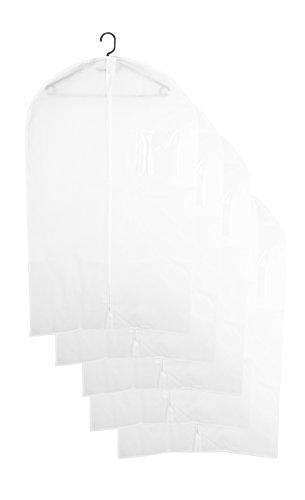 """ZOLLNER set di 5 porta abiti / custodia traspirante / proteggi vestiti / copri abiti con cerniera, protegge dall'umidità, ca. 60x100 cm, bianco, disponibile in altre varianti, serie """"Baron"""""""