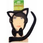 Kostüm Black Tie - Black Cat Set Ears, Tail & Bow TIe Fancy Dress Halloween Party Accessory