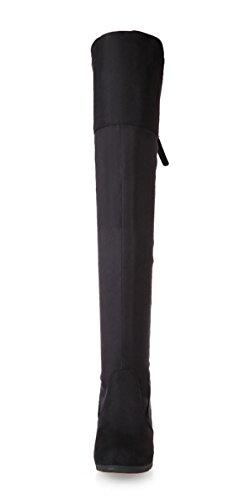 YE Damen High Heels Plateau Stretch Overknee Schnürstiefel mit Keilabsatz Wildleder 7cm Absatz Boots Schwarz