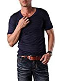 EDTara Men's Casual Stripe Sleepwear Lounge Modal Short Sleeve Round Neck Slim Top Shirt Pajama RoyalBlue Asia L