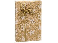 Gold Swirling Stars Kraft Christmas Holiday Gift Wrap Paper–16Foot Roll by Buttons Bags and Bows