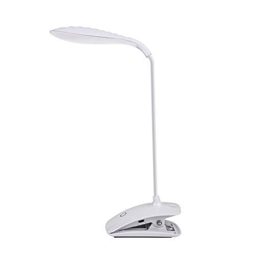 DEEPLITE Clip-Licht, batteriebetrieben, zum Anklipsen, für Schreibtisch, Bett, Kopfteil, 5 W LED, flexibler Schwanenhals, 3-stufige Helligkeit, Touch-Steuerung