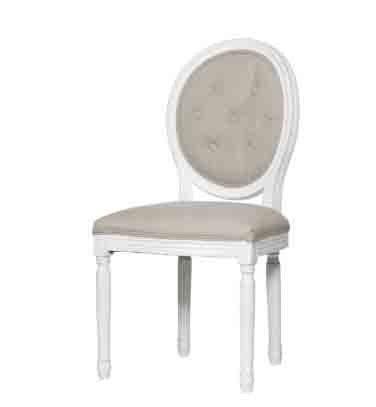 Poltrona ovale bianca in legno stile vintage con imbottitura con bottoni in cotone L'ARTE DI NACCHI PP-02