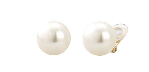 Traveller® Schmuck Ohrring Ohrclip mit Crystals from Swarovski® - Clip 22kt vergoldet oder rhodiniert - Perle Ø ca. 16mm (creme)