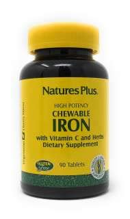 Nature's Plus Chewable Iron w/Vitamin C & Herbs (27mg Eisen) 90 Lutsch-Tabletten (143,2g) (Natures Plus Chewable Vitamin E)