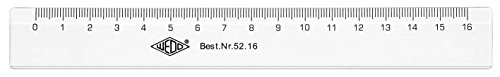 Wedo 5216 Lineal 16 cm, Tuschkante, geprägte Zentimeter Einteilung, Kunststoff, transparent
