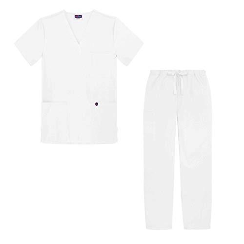 Sivvan Unisex-Schrubb-Set - Medizinische Uniform mit Oberteil und Hose S8400 Farbe: WHT   Größe: S - 100% Baumwolle-scrub-top