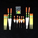 #3: Ocamo 15pcs Assorted Sizes Lot Fishing Lure Floats Bobbers Slip Drift Tube
