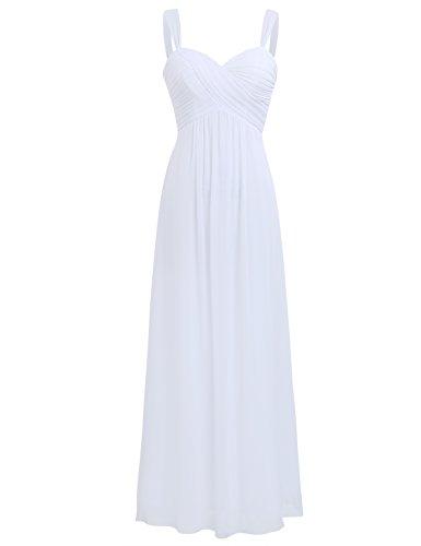 iEFiEL Elegant Damen Kleider Sommer Chiffon Kleid Lang Cocktailkleid Abendkleider Hochzeit Party Kleider Gr. 36-46 Weiß 36 (Herstellergröße: 4)