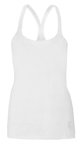 Damen-Westen, Rückenausschnitt, für Sommer, Strand und Oberteile von Brody & Co ® Baumwolle Fitness Tanz Weiß