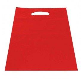 Dalbags - confezione da pz 50 sacchetti di plastica tinta unita colore rosso manici modello asola formato 40x50 cm