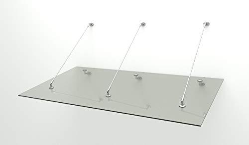 Glas Vordach Wand (Haustür Edelstahl Glas Vordach 2,6 x 1,1m 14 mm VSG)