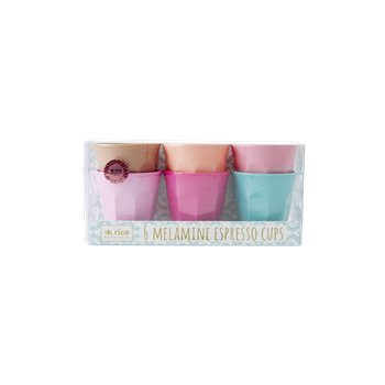 RICE DK Rice Melamin Espresso Becher Cups Klein Small 6er Set 7 cm - Assorted Life is Better in Color Espresso-becher-set